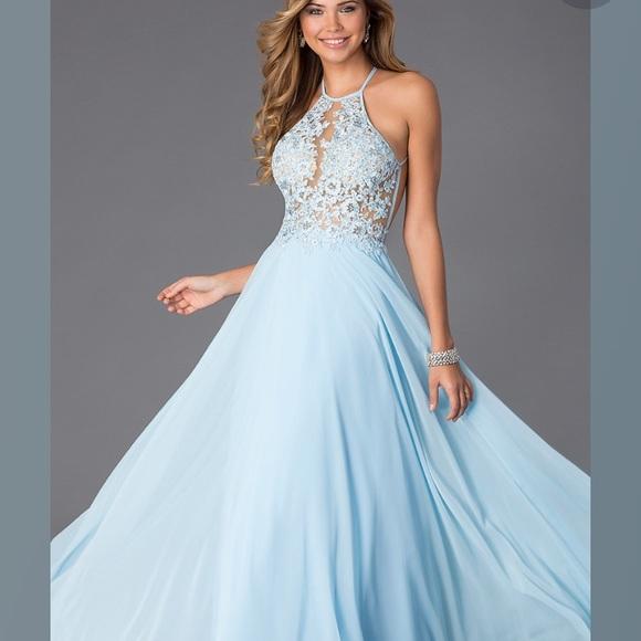 PromGirl Dresses | Light Blue Lace Open Back Prom Dress | Poshmark
